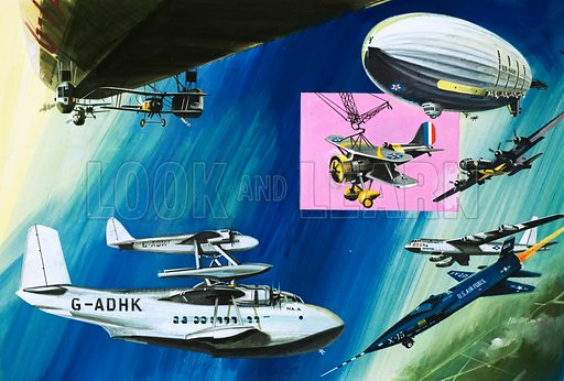 Sky High: Aerial Aircraft Carriers. Clockwise from top left: airship carrying biplane; US airship Macon carrying a Curtiss-Sparrowhawk (release mechanism inset); B-29 carrying and X-15; B52 Stratofortress also used to carry rocket-powered aircraft; X-15; pick-a-back Short-Mayo aircraft. Original artwork from Look and Learn no. 681 (1 February 1975).