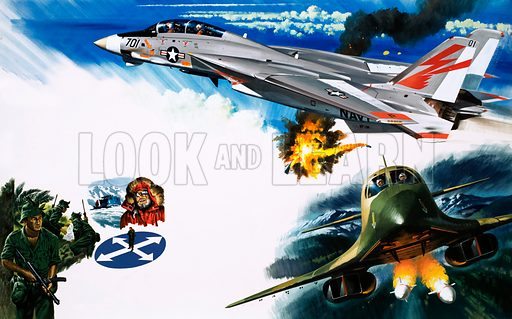 Grumman F-14 (top) and B-1 Bomber (bottom). Original artwork for Speed and Power Book 1979.