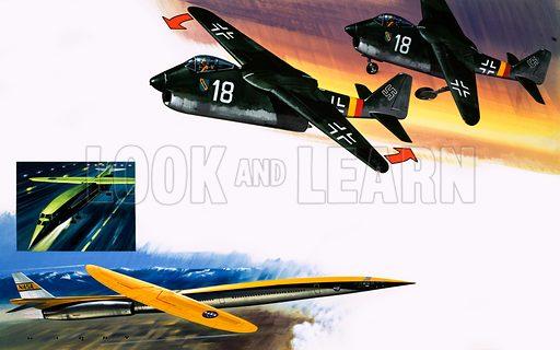 Skew-wing aircraft montage. Original artwork (dated 30/12/72).