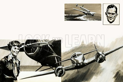 Women in Search of Adventure: Mystery of the Missing Air Ace. Amelia Earhart and her Lockheed Vega monoplane. (Inset top right): With Fred Noonan (her navigator), Earhart set off from Miami, Florida, in a Lockheed Electra (also main pic below) in 1937. Original artwork from Look and Learn no. 699 (7 June 1975).