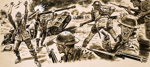 The Desert Fox is Trapped. British troops attack the position held by Rommel's Afrika Korps. Original artwork from Ranger (7 May 1966).