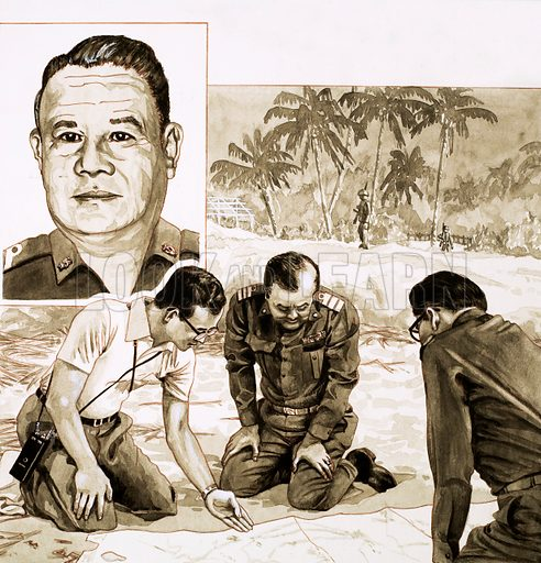 The Modern Monarchs: 'Swinger' from Siam. King Bhumipol Adulyadej plans his response to the 1981 coup attempt; (inset) General Sant, leader of the unsuccessful plotters. Original artwork from Look and Learn no. 1042 (27 February 1982).