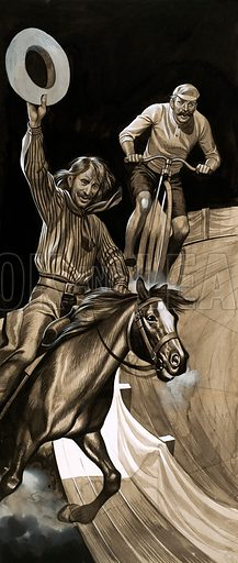 Seventy Years in the Saddle. Broncho Charlie Miller, a one-time Pony Express rider who later worked for Buffalo Bill's Wild West Show. In London in the 1880s he and another ex-Pony Express rider took part in a six day race with two cyclists, winning by two miles. Original artwork from Look and Learn no. 497 (24 July 1971).