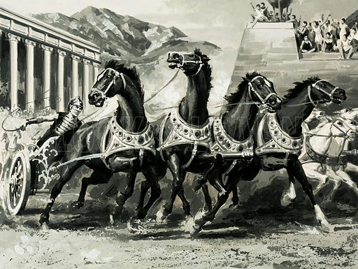 Gateway to Adventure: Land of the Legions (Italy). Chariot racing in ancient Rome. Original artwork from Look and Learn no. 722 (15 November 1975).