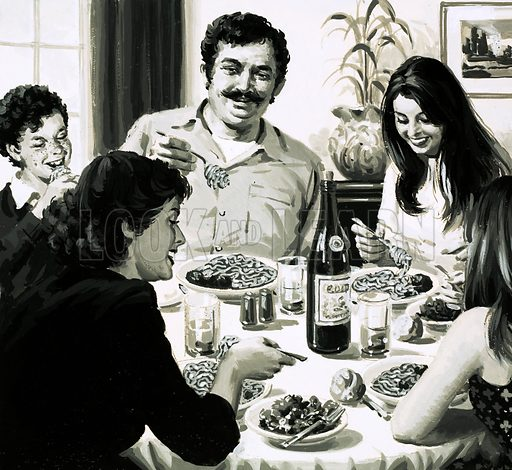 Italian family eating spaghetti for dinner - Look and Learn History