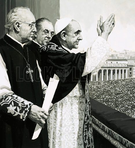 Gateway to Adventure: Land of the Legions (Italy). The Pope, waving to the crowds. Original artwork from Look and Learn no. 722 (15 November 1975).