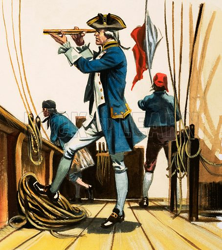 Ships, Seamen and the Sea. A Lieutenant with his eye at a spyglass watching the Battle of the Nile… but which year is it? 1798. Original artwork from Look and Learn Book of 1001 Questions and Answers 1984.
