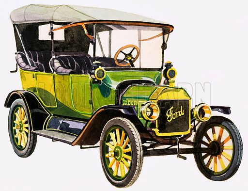 Ford Model T, the first mass produced and affordable motor car. American motor manufacturer Henry Ford produced huge numbers of the Model T between 1908 and 1927. Original artwork from the Look and Learn Book of 1001 Questions and Answers 1981.