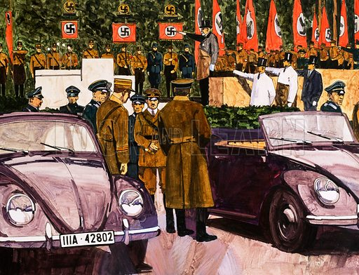 Adolf Hitler inspecting prototypes of the 'people's car' he had authorised to be built before World War II. The Volkswagon Beetle was to become one of the most successful cars of all time. Look and Learn Book of 1001 Questions and Answers 1981.
