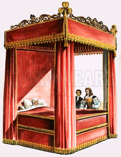 Four poster bed. Original artwork from Look and Learn no. 212 (5 February 1966; reused in the Look and Learn Book of 1001 Questions and Answers 1981).