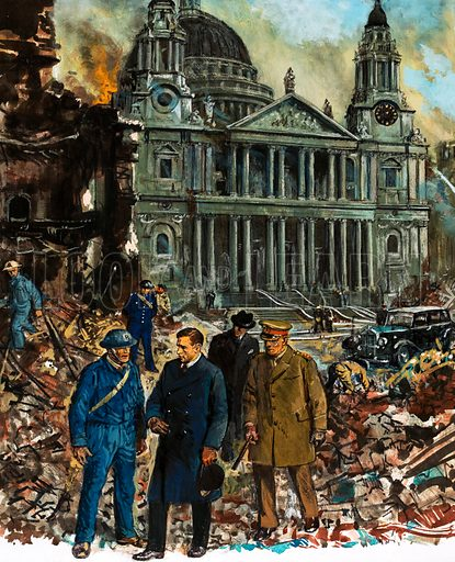 """Our Island's Story: """"I Never Wanted This to Happen!"""" King George VI inspects the wreckage outside St Paul's Cathedral after another night of the Blitz. Original artwork from Look and Learn no. 1025 (31 October 1981)."""