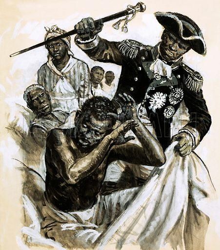 Unidentified black officer beating another man. Original artwork (labelled L&L Book 79).