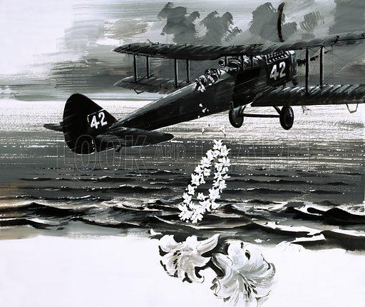 Unidentified bi-plane dropping a wreath. Original artwork.