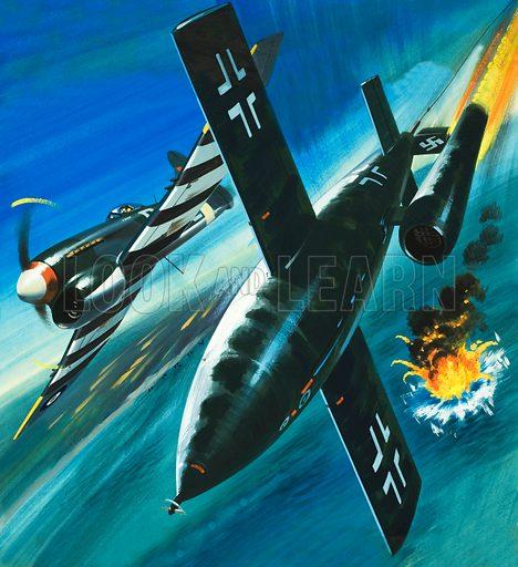 Unidentified British aircraft attacking a German V1 rocket. Original cover artwork.