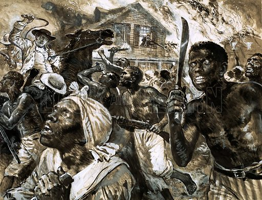 Slave revolt in the Southern United States. Original artwork.