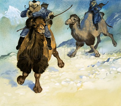 Mongol warriors on camels.