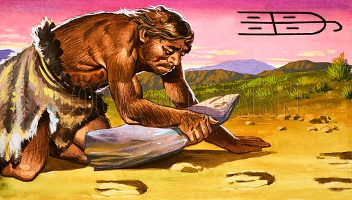 """Primitive man """"reading"""" a track. The Chinese illustrate the verb """"to recognise"""" by drawing an animal's track."""