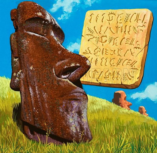 The writing of Easter Island. The inhabitants of Easter Island wrote in such a way that the board had to be turned over each line.