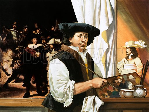 Rembrandt painting his famous portrait of the Civic Guardsmen. Original artwork from Look and Learn no. 608 (8 September 1973).