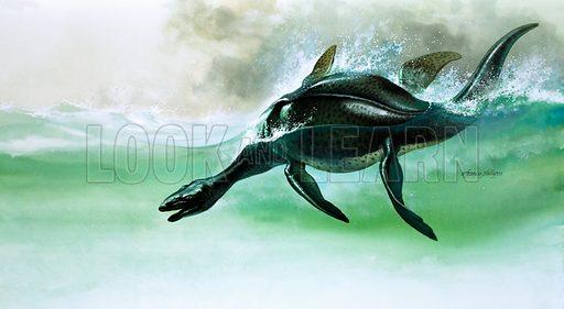 Plesiosaurus, marine dinosaur of the early Jurassic Period. Original artwork.