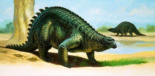 Scelidosaurus. Original artwork.