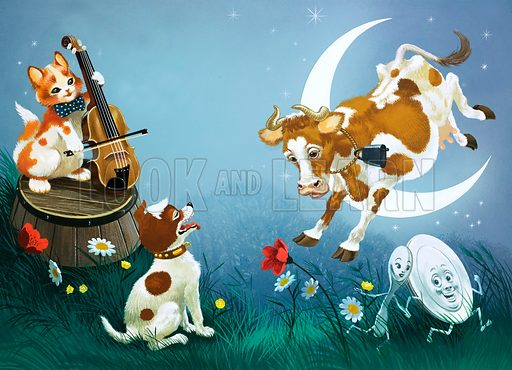 Hey Diddle Diddle, English nursery rhyme. Hey Diddle Diddle, the cat and the fiddle, the cow jumped over the Moon. The little dog laughed, to see such fun, and the dish ran away with the spoon.