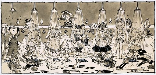 Animals showering. Original artwork for Teddy Bear 20 November 1965.