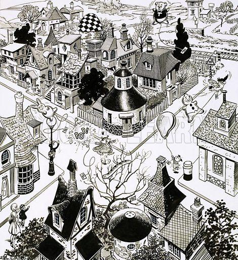 Balloons above town. Original artwork for Teddy Bear 11 Nov 1972.