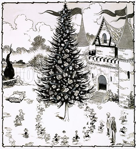 Chistmas tree surrounded by dancing animals. Original artwork for Teddy Bear 28 Dec 1968.