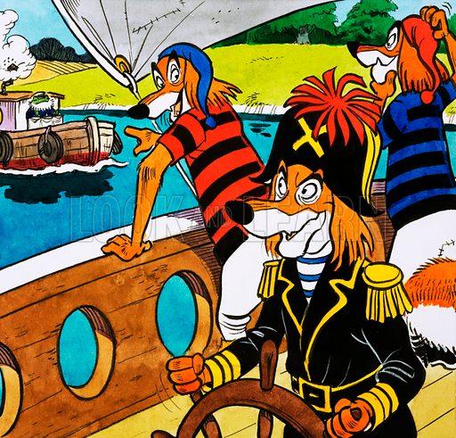 Mr Toad and dog pirates. Original artwork for Playhour 11 July 1981.
