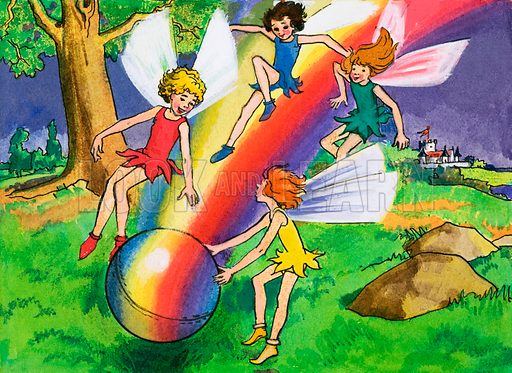 Rainbow ball and fairies. Original artwork for Playhour 11 Aug 73.
