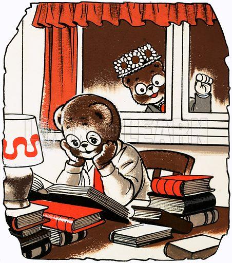 Teddy doing his homework.