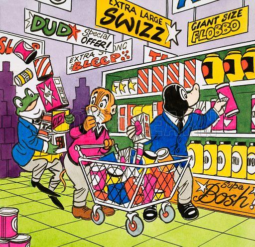 Mr Toad in the Supermarket.  Original artwork for Playhour 25 November 1981.