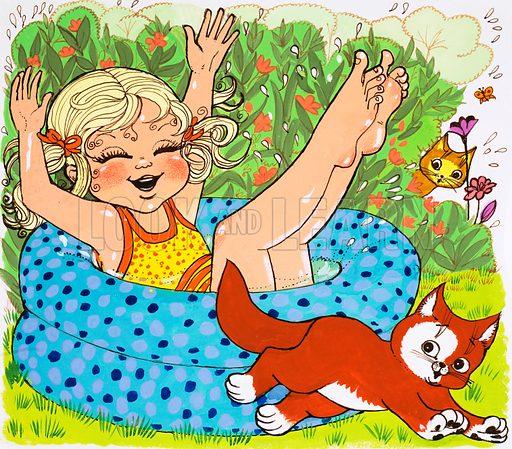Girl enjoying herslelf in paddling pool. Original artwork for Playhour Holiday Special 1983.