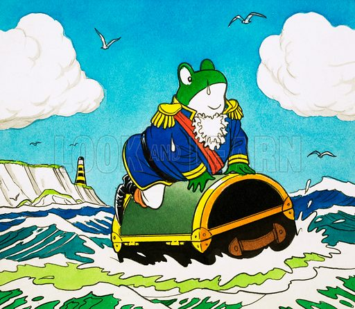 Mr Toad on a trunk at sea. Original artwork for Playhour, issue of 12 April 1980.