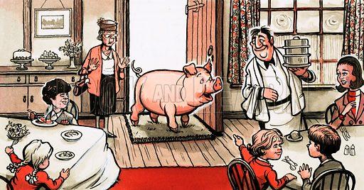 Pig entering a restaurant. Original artwork for Playhour Holiday Special 1983.
