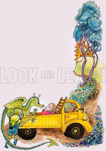 Dragon in truck. Original artwork for Playhour annual 1984.