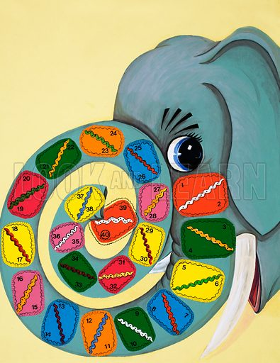 Elephant trunk with numbers. Original artwork for Playhour 1984.