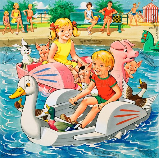 Children on pedalo boats (with hidden objects).