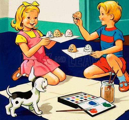 Children painting eggs.