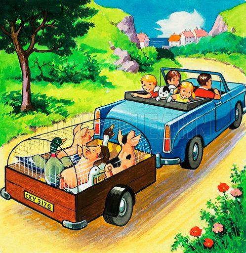 Car pulling a trailer of farmyard animals.