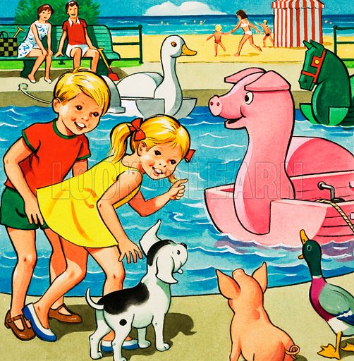 Children and farmyard animals besides pedalo pond.