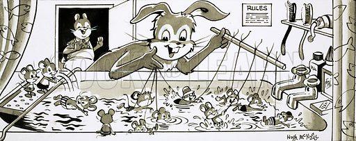 Harold Hare teaching mice to swim.