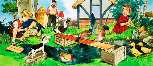Children and ducks playing. Original artwork for Teddy Bear annual 1978.