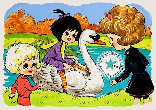 Girl on a swan.