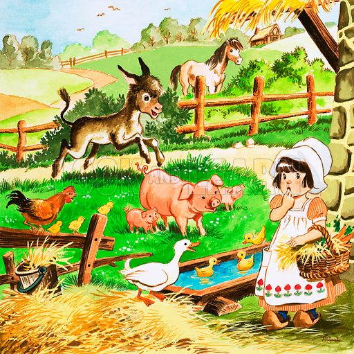 Little girl at the farm. Original artwork for Playhour annual 1984.