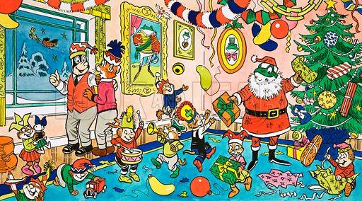 Mr Toad's Christmas Party. Original artwork for Playhour (30 Dec 1978).