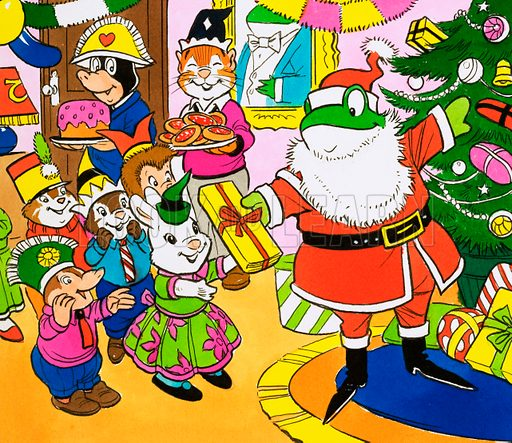 Mr Toad giving out Christmas presents. Original artwork for Playhour (30 December 1967).