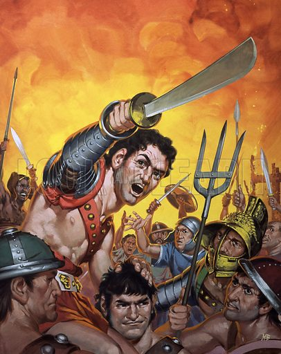 Spartacus and the revolt of the slaves (Angus McBride: illustration, artwork, picture)