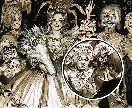 The British Way of Life: The Wonderful World of Pantomime. The cast of Cinderella. Original artwork from Look and Learn no. 519 (25 December 1971).